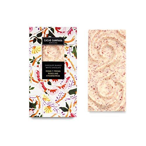 Cacao Sampaka - Tableta de Chocolate Blanco con Rosas y Fresas - 1 x 100gr