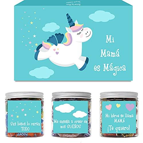 SMARTY BOX Caja Regalo Chuches Día de la Madre Caramelos y Gominolas , Cumpleaños Mamá, Cesta Golosinas Chucherías Dulces sin Gluten, Fabricado en España