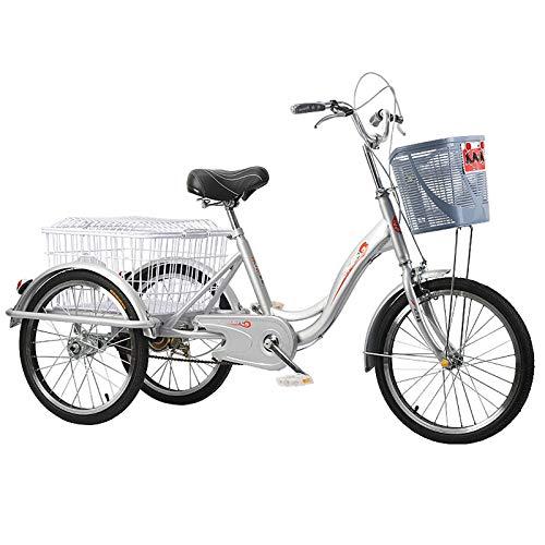ZNND Bicicletas reclinadas Triciclo Pedales Adultos 20 Pulgadas Triciclos 3 Ruedas Velocidad Única Anciano Transporte Fitness Carro Cesta Compra para Personas Mayores Hombres Mujeres