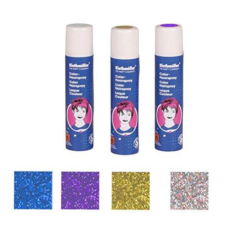 Haarspray, lila Glitter (fuchsia), auswaschbar, 100 ml