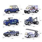 WSJQWHW Regalo Big Truck y 6PCS Mini aleación de fundición Modelo de Coche 1:64 Escala Juguetes Vehículos Camión transportador de Ingeniería de Coches for niños Juguetes for niños (Color : Blue A)