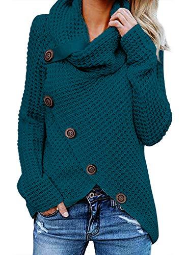 FIYOTE Damen Winterjacke Warm Strickjacke Rollkragen Cardigan Strickpullover Casual Wrap Wickel Pullover Sweater 7 Farbe S/M/L/XL/XXL, 1-blau, XXL