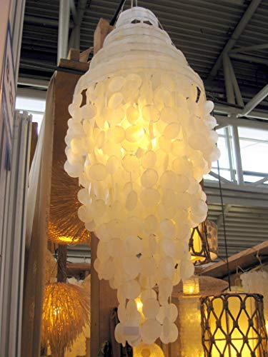 Muschelleuchte 90cm hoch Muschellampe Muschel-Leuchte cremeweiß
