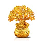 XUDREZ Crystal Money Tree - Feng Shui Gold Crystal Money Tree Office Room Fortune Decoration for Wealth and Luck (Activity Trumpet:816cm)