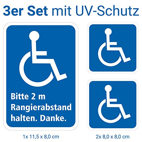 deformaze Aufkleber Set Rollstuhlfahrer Behinderten Sticker 1x Bitte 2m Abstand halten 11,5 x 8cm + 2X Rolli eckig 8cm KFZ Auto Scheibe UV Wetterfest