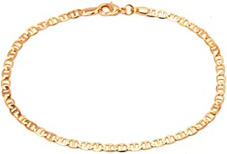 Gold Anklet for Women Flat Mariner Anklet | Barzel 18K Gold Plated Flat Marina Link Anklet for Women - Made In Brazil