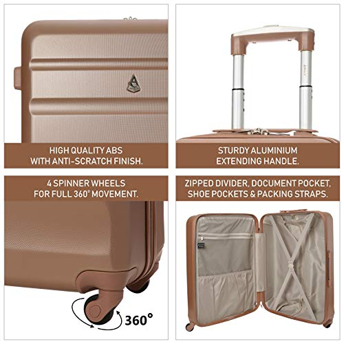 Aerolite Aerolite XL Große Leichter ABS Hartschale 4 Rollen Trolley Koffer Reisekoffer Hartschalenkoffer Rollkoffer Gepäck, 79cm, (Roségold)
