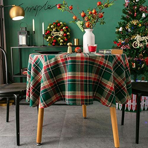 Xiongfeng Mitchell Rund Tischdecke 120cm Baumwolle und Leinen Retro Kariert Weihnachten Grün Tischtuch Gitter Abwaschbar Couchtisch Dekorative Staubdichte Gartentischdecke Küchentischabdeckung