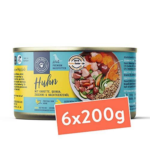 Hundefutter nass 1,2 kg - 6er-Pack | Huhn mit Karotte, Quinoa, Zucchini und Nachtkerzenöl