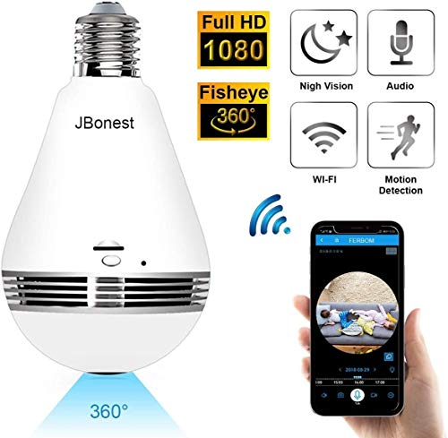 JBonest 1080P WiFi Camera Light Bulb Panoramic Camera with IR Motion Detection, Night Vision,...