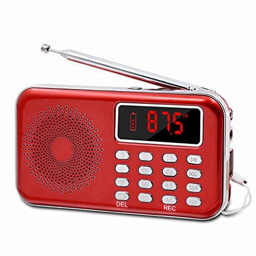 LEFON Mini Digital FM Radio + MP3 Music Player + Digital Voice Recorders Support TF Card/USB Disk with LED Screen Display Emergency Flashlight (Red)