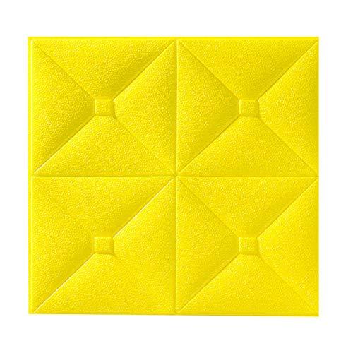 10 Unids 3D Pegatinas De Pared Imitación Ladrillo Dormitorio Decoración Impermeable Autoadhesivo Wallpaper PE Espuma Fondos De Pantalla 34 * 34 Cm,Amarillo