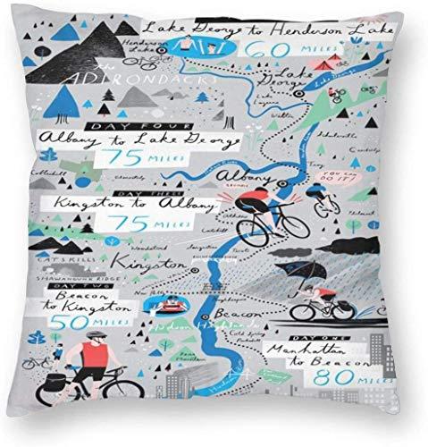 Biking The Hudson Map Kissenbezug Einzigartige Kissenbezüge Kreative Kissenbezüge mit Reißverschluss Home Decorative Print Kissenbezug für Sofa Couch 40(18