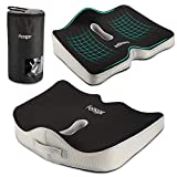 Feagar Seat Cushion, Office Chair Car Seat Cushion Extra Large Memory Foam with Carry Bag and Anti-Slip Bottom Helps for Back Hip Coccyx/Tailbone Sciatica Pain Relief