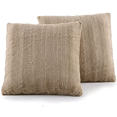 Cheer Collection Set of 2 Decorative Throw Pillows - Reversible Faux Fur to Microplush Accent Pillows by 18  x 18  - Sand