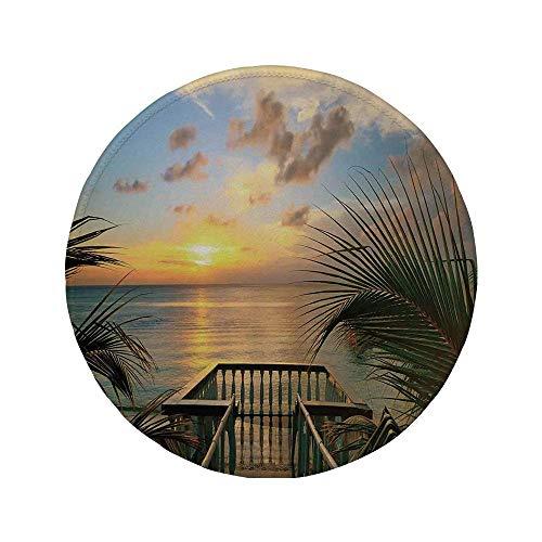 Rutschfreies Gummi-rundes Mauspad Bauernhausdekor Mittelmeer-Horizontmeer von der Holzterrasse Balkonzäune Holiday Life Photo Multi 7,87 \'x 7,87\' x 3 mm
