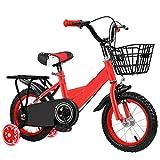ZEMENG Bicicleta para niños, Bicicleta de Dos Ruedas, Bicicleta de niña, Bicicleta para niños Durante 2-7 años,Rojo,12'