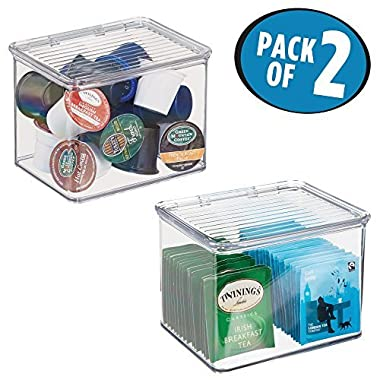 mDesign Kitchen Bin Storage Container with Hinged Lid, 5.5  x 6.6  x 5  - Pack of 2, Clear