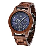 Men's Wooden Watch, VICVS 100% Natural Wood Watch, Japanese Quartz Movement with Date Display Chronograph Function, (Sandalwood)