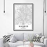 Decoración de pared Mapa de la ciudad de España Carteles de Madrid Pinturas en lienzo Arte de la pared Impresiones Decoración interior del hogar 23.6'x 31.4' (60x80cm) Sin marco