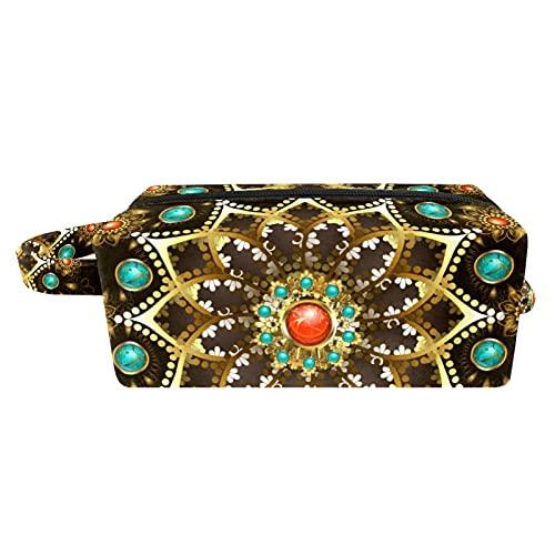 Bolsa de aseo de viaje fácil organización para hombres o mujeres joyas de oro mandala decorado 18,5 x 7,6 x 13 cm