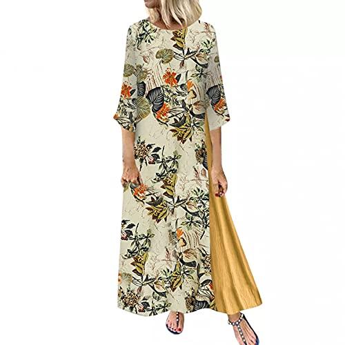 Vestido Maxi para Mujer Verano Media Manga Casual Boho Túnica Estilo étnico Gitano Vestidos con Estampado Floral Novia-XL