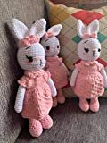 White Bunny Girl in Pink dress Handmade Bunny Crochet Bunny Plushie Doll, Amigurumi doll, baby doll toddler gifts baby shower gifts Baby nursery decor Easter Gifts Christmas gifts