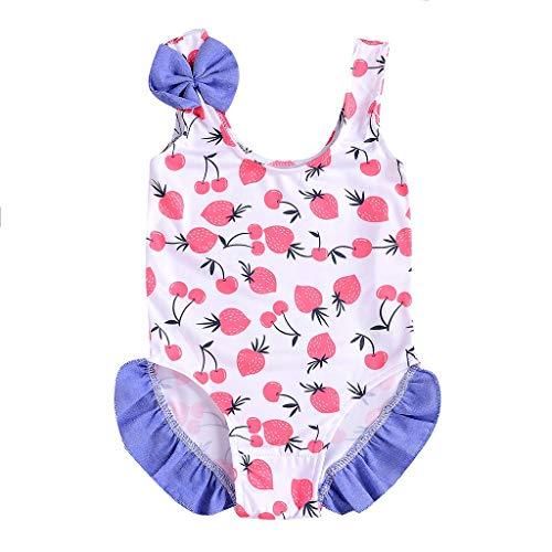 Longra Baby meisjes bikini eendelig bedrukt fruit badmode schattige strik strand badmode zwempak meisjes zwempak tankini set