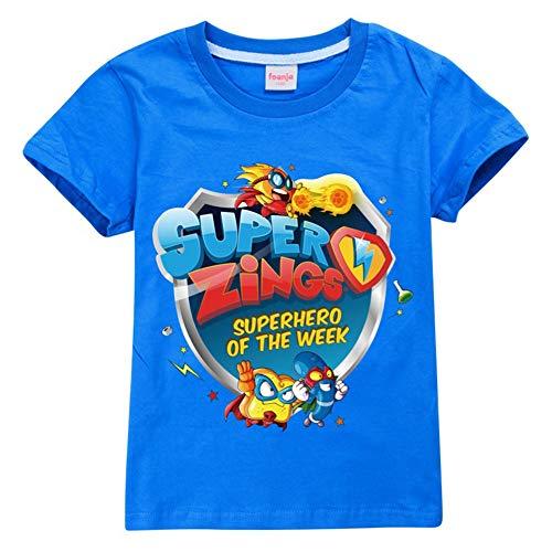 Superzings Maglietta Bambini Vestiti di Estate Girocollo Manica Corta Stampa Moda T-Shirt Ragazzo e Ragazza (Color : Blue01, Size : 150)