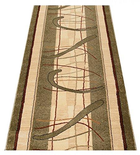 Tapiso Dorian Teppich Läufer Meterware Flur Küche Wohnzimmer Schlafzimmer Kurzflor Brücke Creme Grün Streifen Meliert ÖKOTEX 80 x 160 cm
