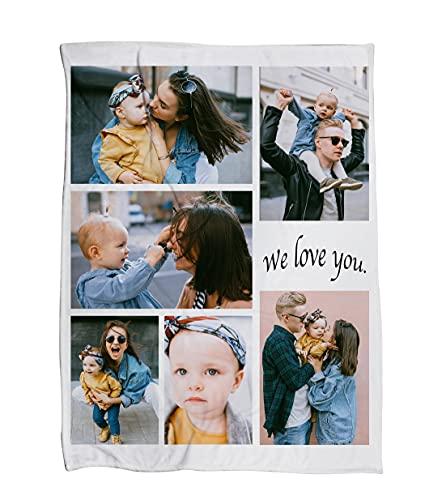 Mositoni Plaid Polaire personnalisé avec 6 Photos pour bébé Adultes Fille et Chien Motif Cachemire Couverture Cadeau de Vacances Cadeau d'anniversaire ( 80x120cm )