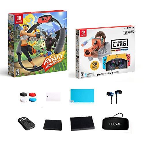 HESVAP Nintendo Switch - Ring Fit Adventure, Nintendo Labo Toy-Con 04 - Kit de démarrage VR + Blaster - 13-en-1