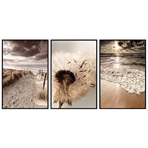 decomonkey   Poster 3er– Set mit schwarzem Rahmen   Bilder Set schwarz-weiß Abstrakt Kunstdruck Wandbild Print Bilderrahmen Kunstposter Wandposter Posterset Strand Meer Natur Blumen Pusteblume