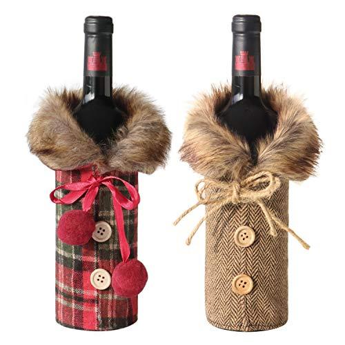 Juego de 2 fundas para botella de vino para Navidad, decoración de Navidad para mesa, ajuste universal para la mayoría de botellas de vino, diseño rústico colorido ideal para vacaciones