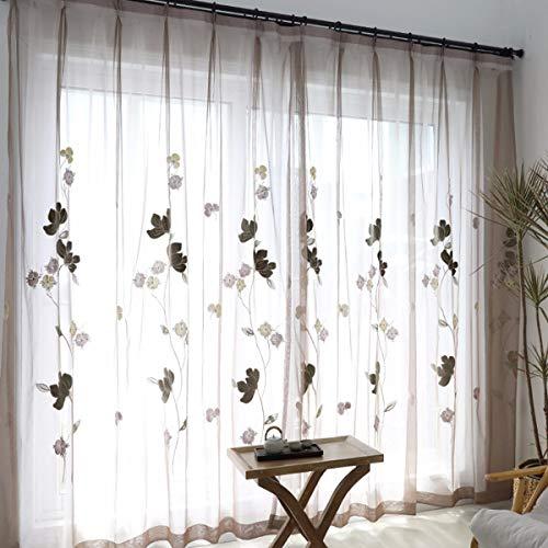 Handfly voilages Transparent Rideaux Plat Argent/é soie rideau rideau rideau d/écoratif Voilage pour chambre salon Rose