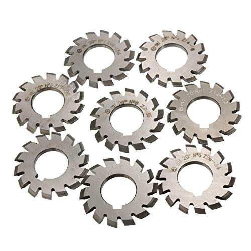 DXX-HR Hoja de sierra, 8 piezas PA20 módulo 1 agujero 22 mm #1-8 HSS Involute Gear fresado herramienta de corte