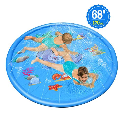 Splash Pad Sprinkler Splash speelmat voor peuters Opblaasbaar buitenfeest Sprinkler Pad Waden Zwembad voor kinderen vanaf 2 jaar, waterspeelgoed voor de zomer Buiten Tuin Strand