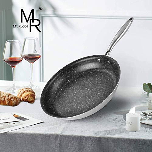 Mr Rudolf 12-Inch Frying Pan with Non-Stick Coating Induction Compatible Bottom,Tri-Ply Bonded Stainless Steel Skillet Pan - PFOA Free Stone-Derived Nonstick Granite Coating from the US whitford coati