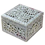 Hashcart Jewelry Organizer for Women | Designer Soapstone Box with Floral Design (4x4 inch) - Gift Options