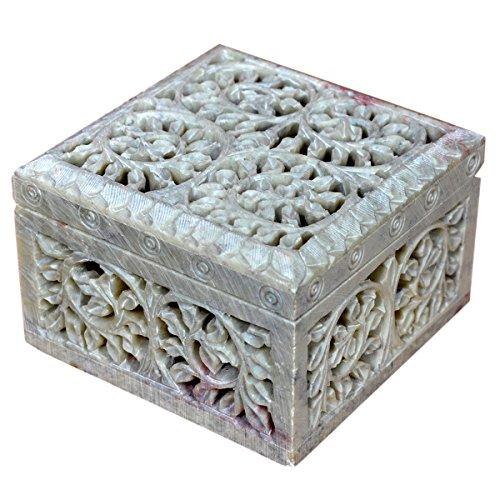 Caja decorativa de almacenamiento de esteatita natural con diseño de flores talladas. De Hashcart., piedra, STYLE 2