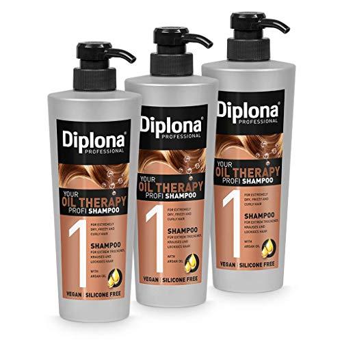 DIPLONA Shampoo für trockenes & lockiges Haar - YOUR OIL THERAPY PROFI Shampoo mit Arganöl für Frauen - veganes Haarshampoo ohne Silikone & Parabene - Damen Haarpflege 3x 600 ml