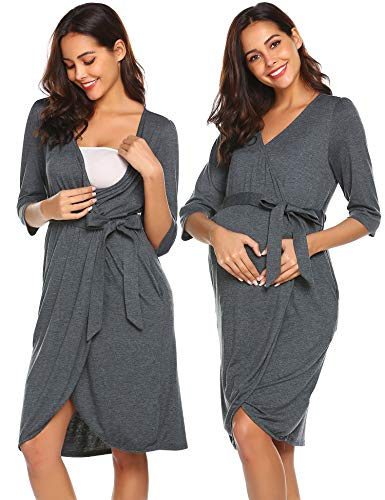 Ekouaer Maternity Nursing Robe,Delivery Nightgowns Hospital Breastfeeding Gown (Grey, Large)