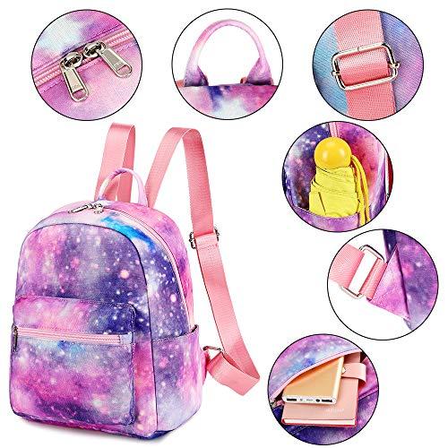 Girls Mini Backpack Purse Galaxy Small Backpack Shoulder Bag for Women Teens School Travel (Galaxy Pink)