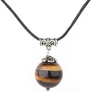 TreasureBay Fab 20Mm Natural Tiger Eye Pendant On Black Necklace Cord Length: 48Cm/19