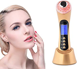 Ul'tra'sonic' Beauty Device, 5 In 1 Ul'tra'sound' Micro Current Ion Le'd' Photon Electroporation Facial Massager Anti-Agin...
