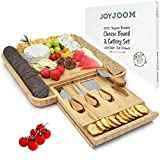 Joyjoom Cheese Board and Knife Set - Premium Bamboo Wood Charcuterie Platter Serving Tray with...