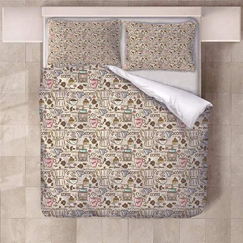 Jior Home Art beddengoed, 3-delig, 1 dekbedovertrek topper 2 kussenslopen, ademend, anti-mijt, geschikt voor mensen met een allergie, ideaal voor kinderen, tieners, slaapkamer, heerlijke koffie