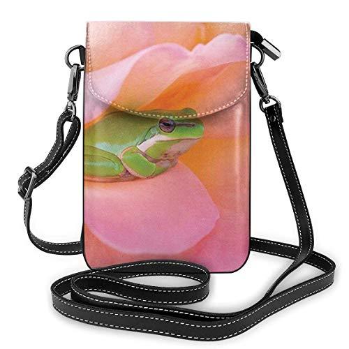 PageHar Ein grüner Laubfrosch Kleine Umhängetasche Lässige Handtaschen Telefon Geldbörse Schulter Geldbörse
