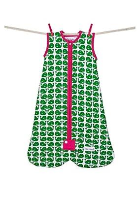Little Fishkopp Organic Cotton Baby Bag, Whales, 2.5 Tog, Green, Medium