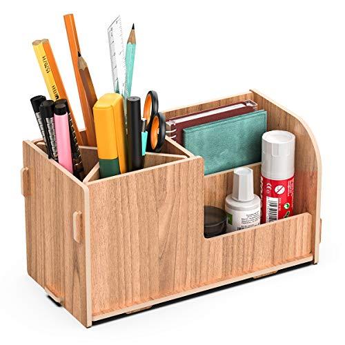 JOPOO Tisch Organizer Stifteköcher, Holz Stiftebox Aufbewahrungsbox, Schreibtisch Stiftehalter